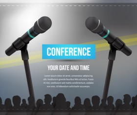 Conference microphones business template vector 06