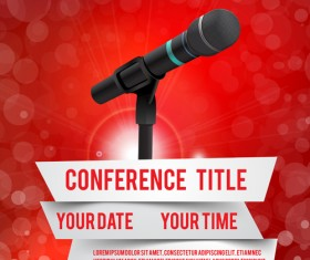 Conference microphones business template vector 07