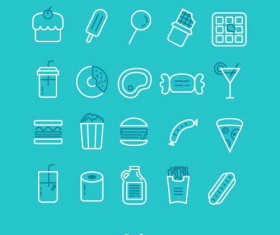 Cute food lines icons
