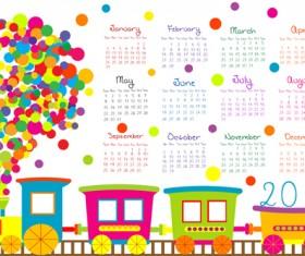 Cute kids calendars 2016 vector 01