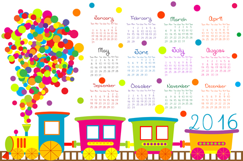 cute kids calendars 2016 vector 01 free download