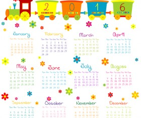 Cute kids calendars 2016 vector 02