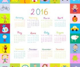Cute kids calendars 2016 vector 03