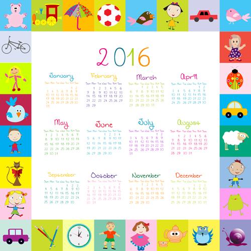 free eps file cute kids calendars 2016 vector 03 download name cute ...