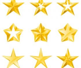 Cute stars icons set vector 01