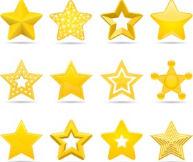 Cute stars icons set vector 02