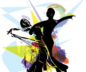 Dancing watercolor drawn vector material