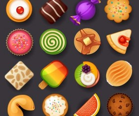Dessert with cakes icons set 01
