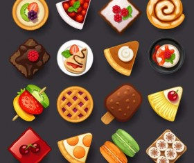 Dessert with cakes icons set 02