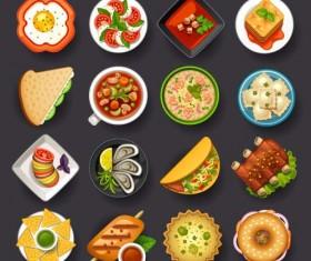 Dofferemt food icons set vector 01