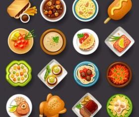 Dofferemt food icons set vector 02