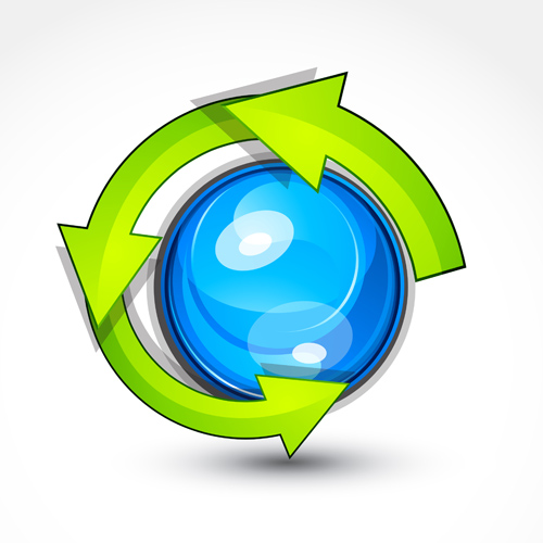 Ecological cycle icons with arrows vector set 01