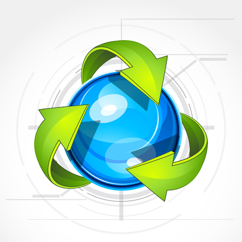 Ecological cycle icons with arrows vector set 04