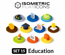 Education flat icons vector material 01