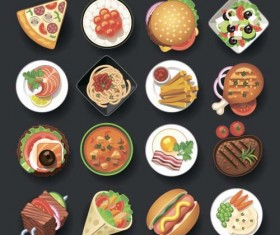 Fast food icons material set