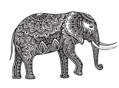 floral elephant vectors - vector animal, vector floral free download
