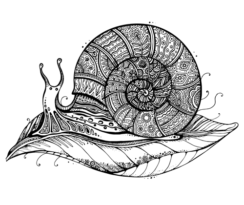Floral with snail vector material