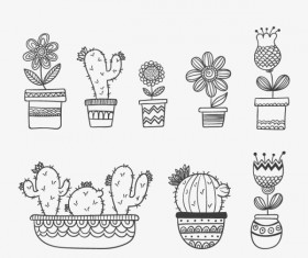 Flower with Potted hand drawn vector