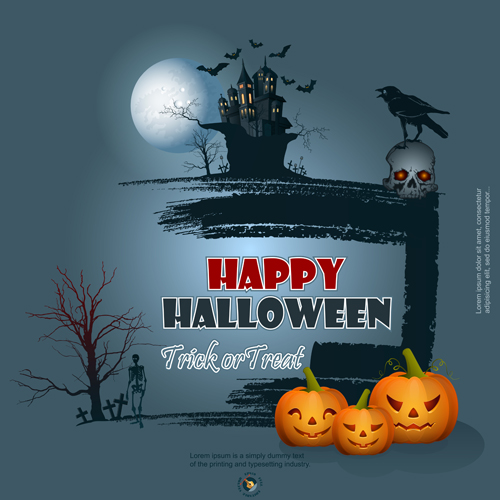 Full Moon with Halloween background vector set 03