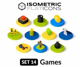 Games Isometric flat icons vector 01