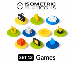 Games Isometric flat icons vector 02