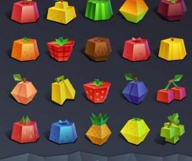 Geometric shapes fruit icons set