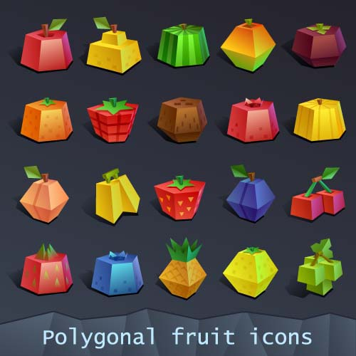 Geometric Shapes Fruit Icons Set Vector Icons Free Download