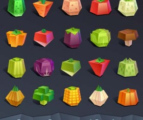 Geometric shapes vegetable icons vector