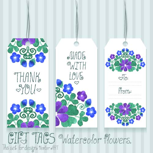 Gift tags with watercolor flower vector vector flower vector gift tags with watercolor flower vector negle Image collections