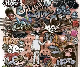Graffiti wall design vector material 01