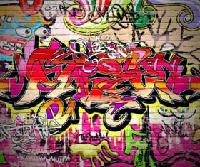 Graffiti wall design vector material 02