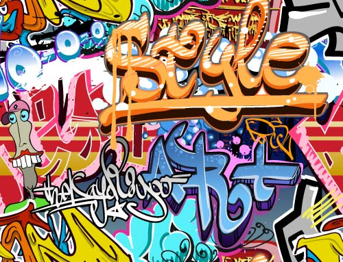 Graffiti wall design vector material 03