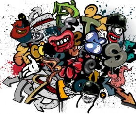 Graffiti wall design vector material 04