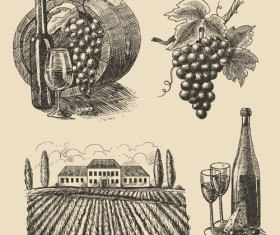 Grapes with farm vector material 02