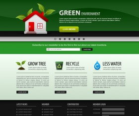 Green environment style website template vector 01