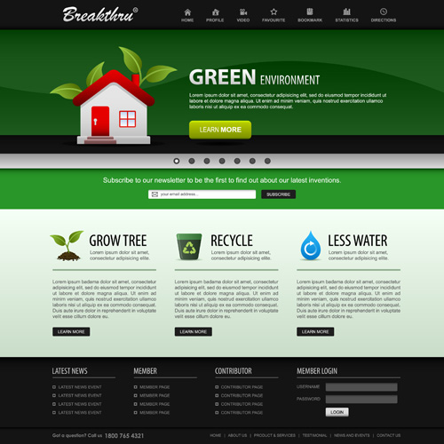 Green environment style website template vector 01 for Website layout design software free download