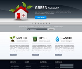 Green environment style website template vector 02