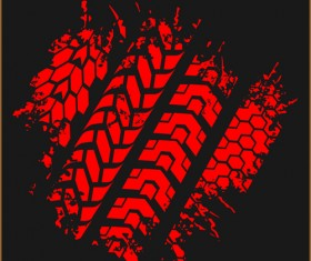 Grunge tire tracks design vector 04