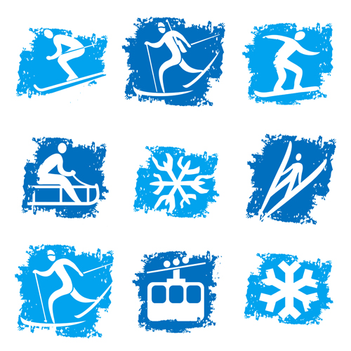 Grunge winter sport icons set