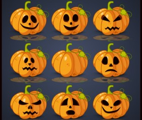 Halloween pumpkin icons set vector material