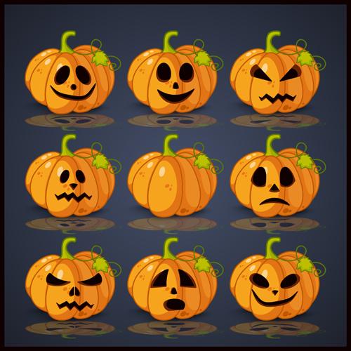 Halloween pumpkin icons set vector material