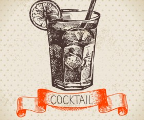 Hand drawn Cocktails with ribbon vector background