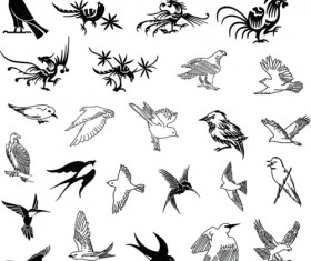 Hand drawn birds with silhouetter vector