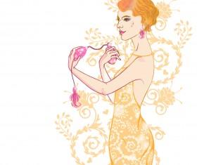 Hand drawn fashion model material vector 04