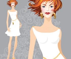 Hand drawn fashion model material vector 06