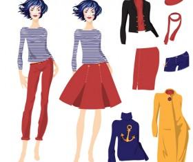 Hand drawn fashion model material vector 10