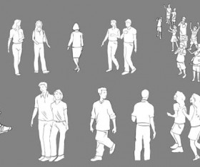 Hand drawn people psd material