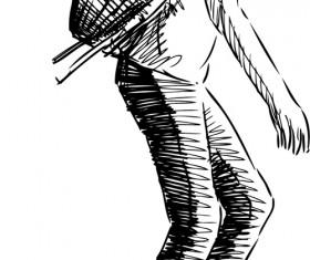 Hand drawn rollerblading girl vector 01
