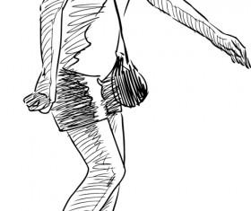 Hand drawn rollerblading girl vector 02