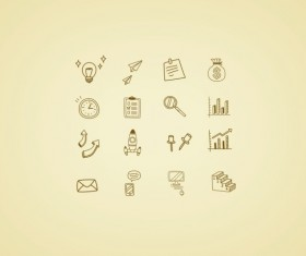 Hand drawn style business icons
